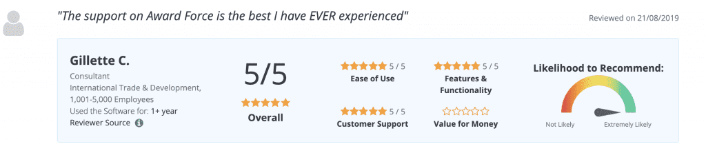 Award Force Capterra review