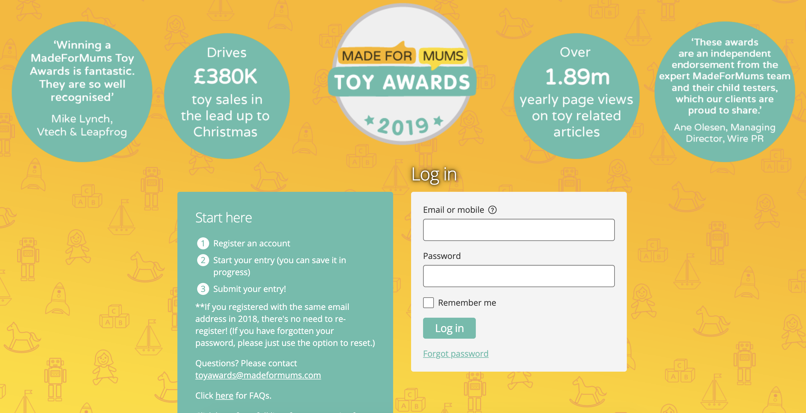 Made for mums toy awards 2019 registration page