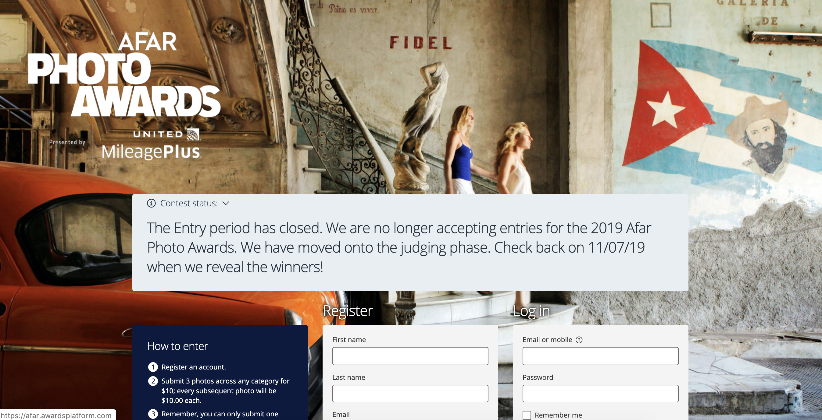 A far photo awards registration page