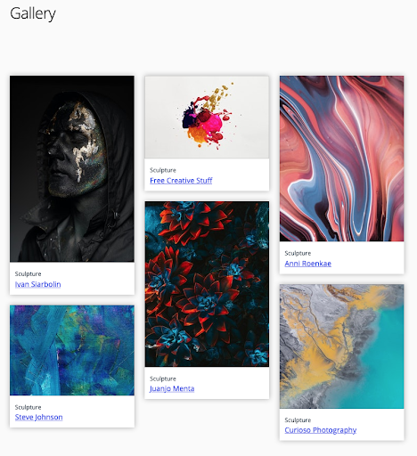 Gallery to share student work