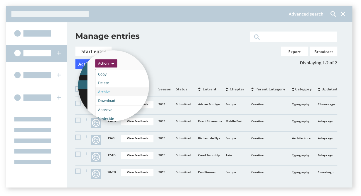 Manage entries - Awards management software - Award Force