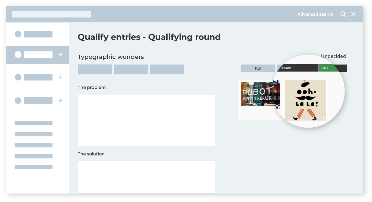 Pass or fail awards entries with qualifying judging mode