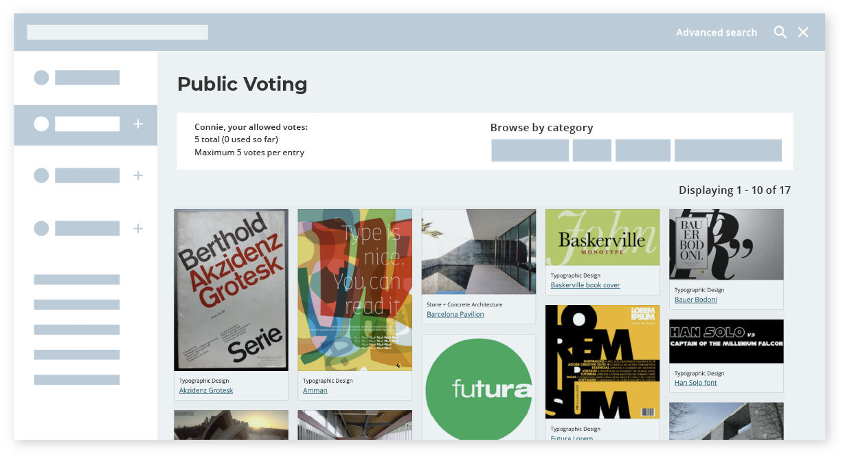 Public voting judging mode - Awards management platform features - Award Force
