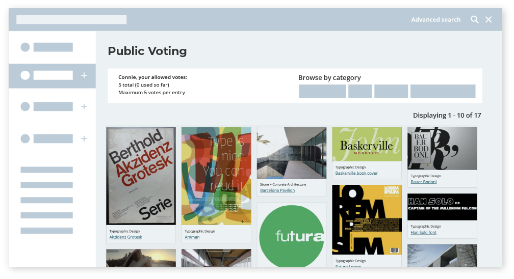 Public voting in Awards system