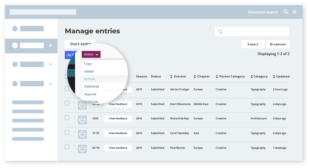 Manage entries in award management system