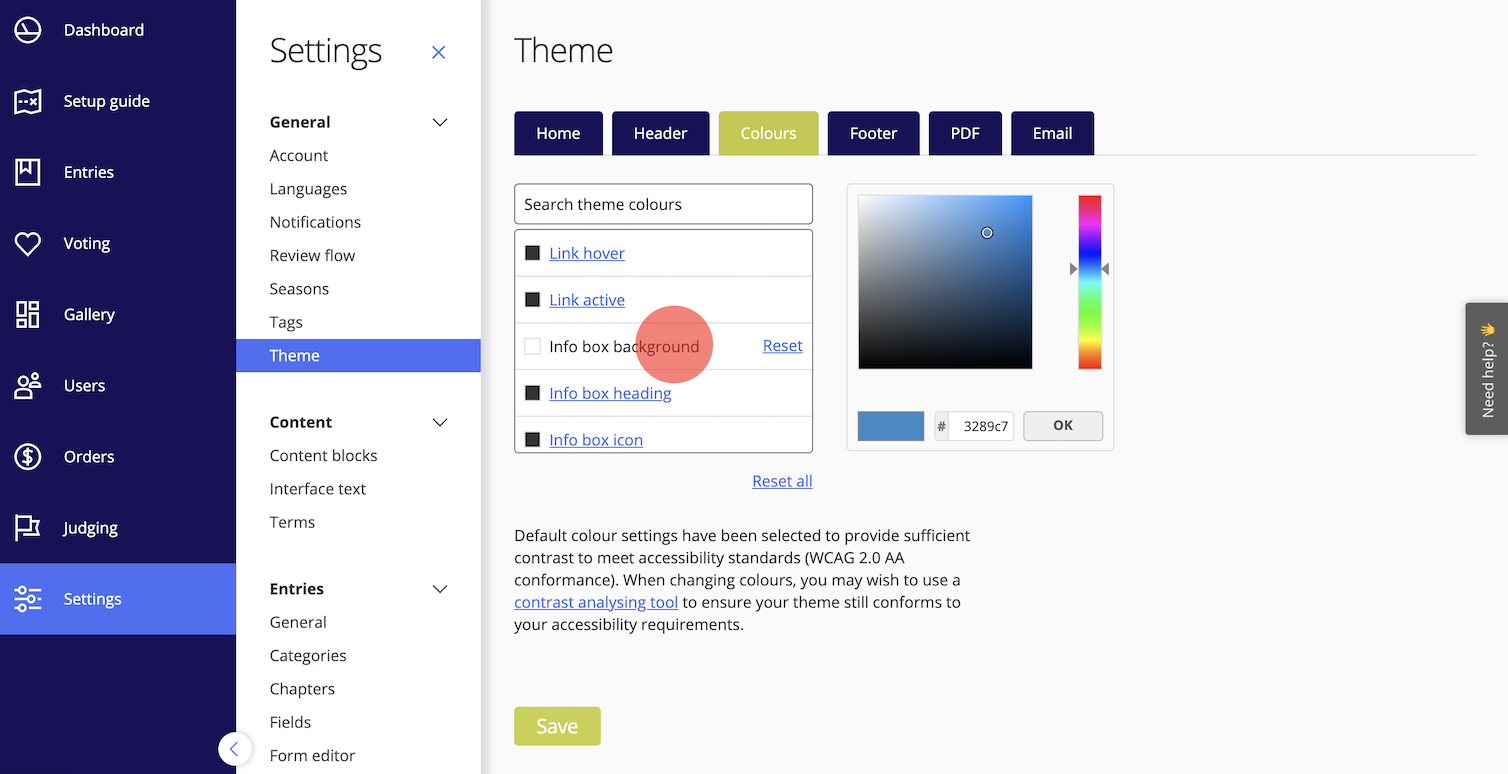 Web colours for accessibility