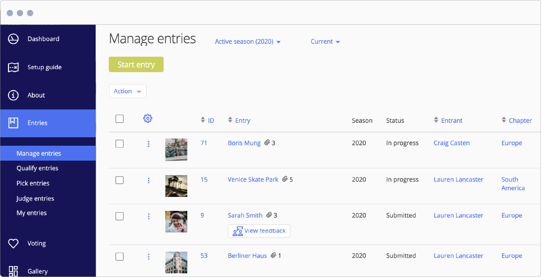 Award Force manage entries