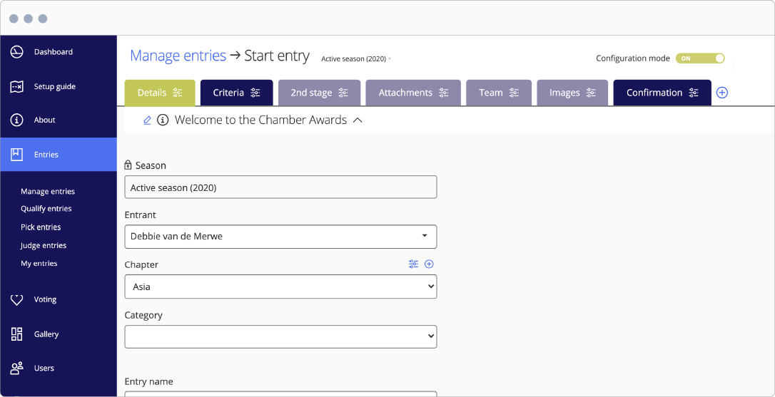 Awards entry form - awards management feature - Award Force