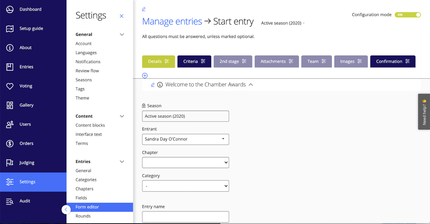 Configure your entry form