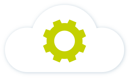 Icon of green cog in a cloud
