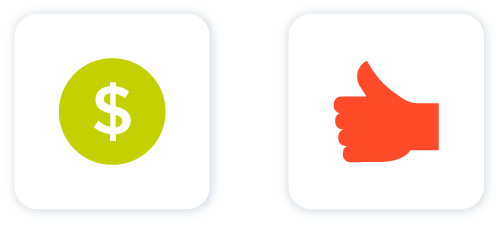 Icon of green dollar sign and red thumbs up