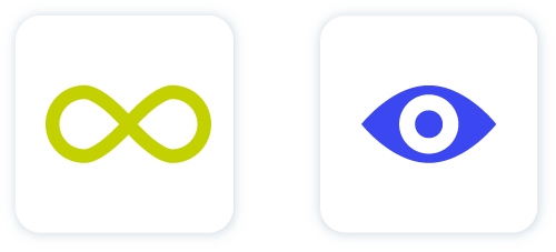 Icon of green infinity sign and blue eye