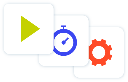 Icon of green play button blue stop watch and red cog