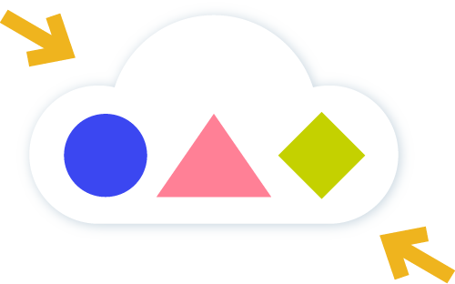 Icon of shapes in a cloud