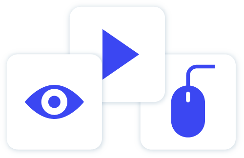 Image of a blue eye blue play button and blue mouse