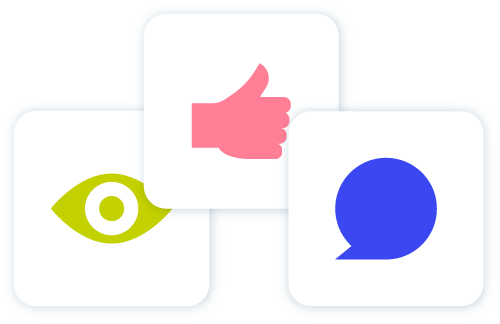 Image of a green eye pink and and blue speech bubble