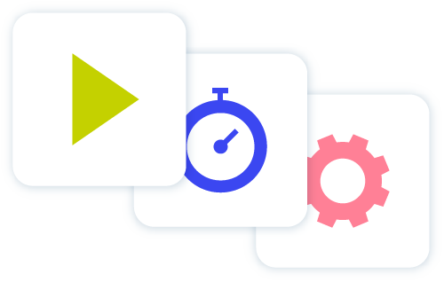 Image play green play button blue stop watch and pink cog