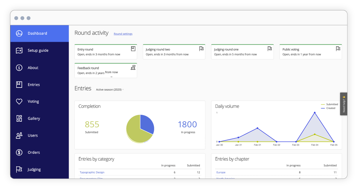 Awards management interface of of dashboard