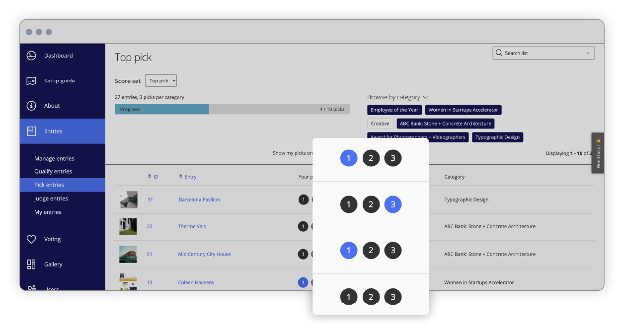 Awards management interface of of score sets