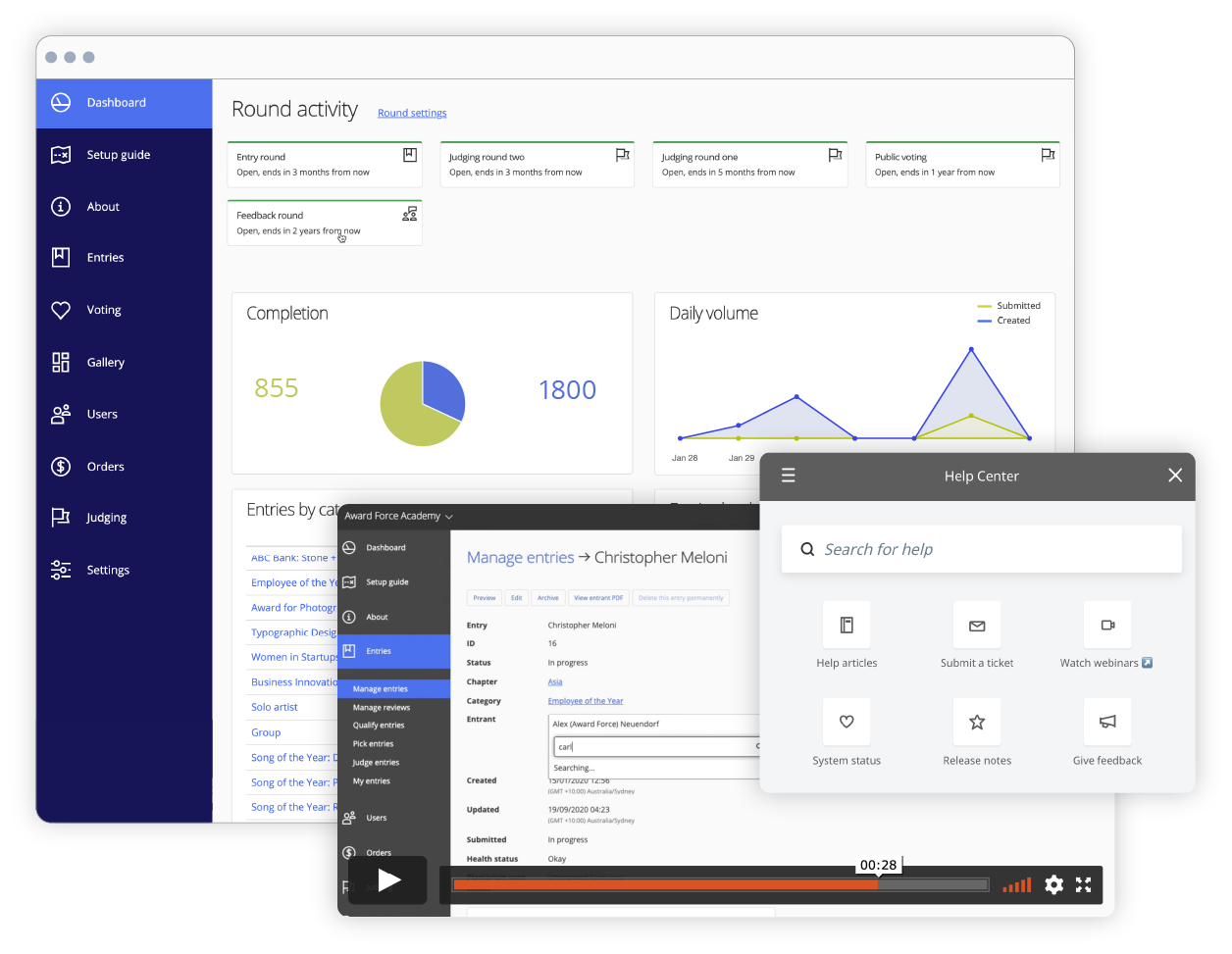 Multiple features in awards management software