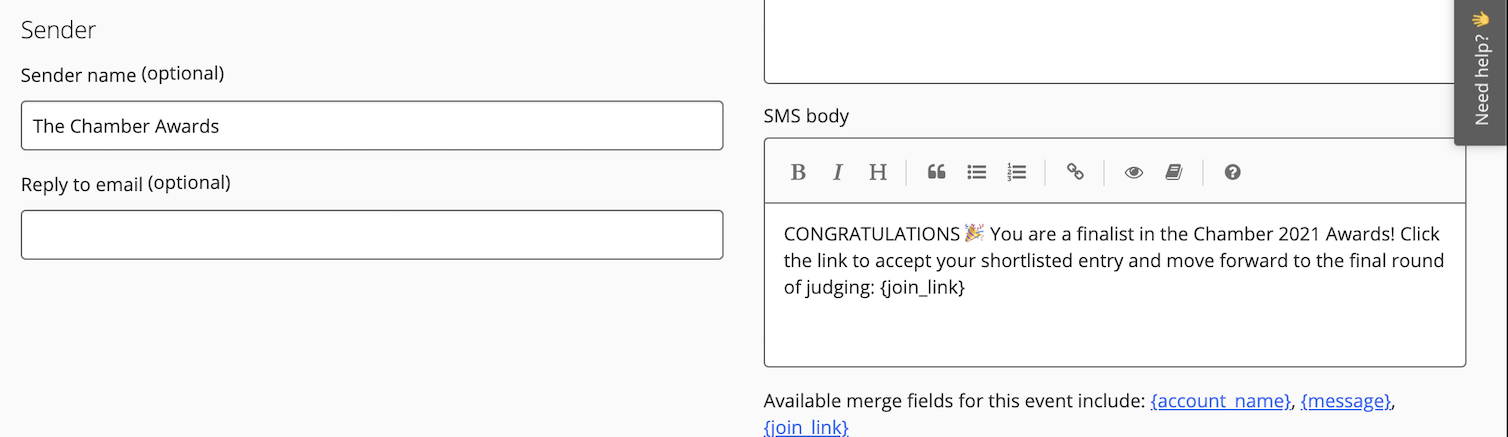 SMS in Award Force