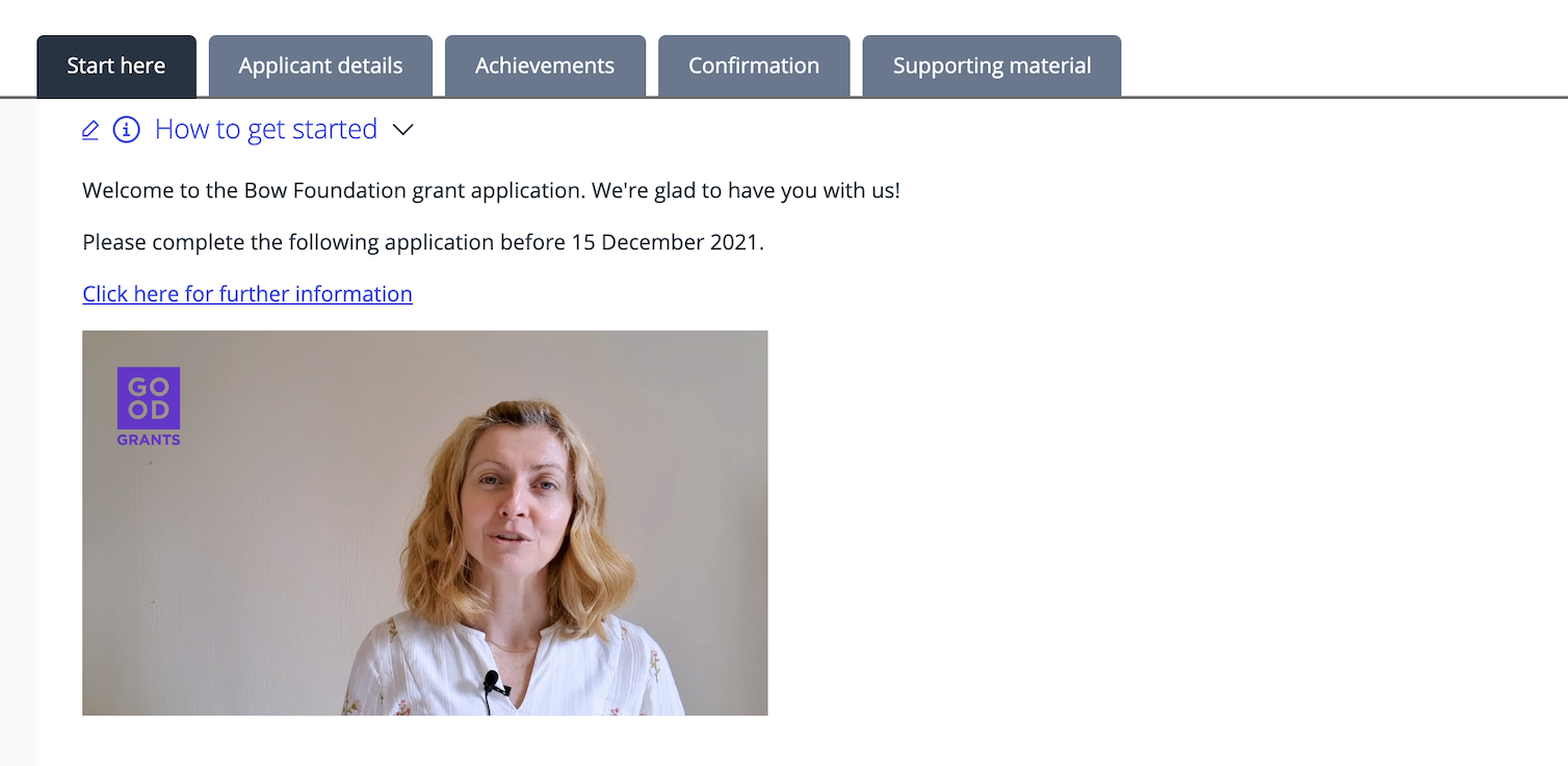 Welcome video in grants application